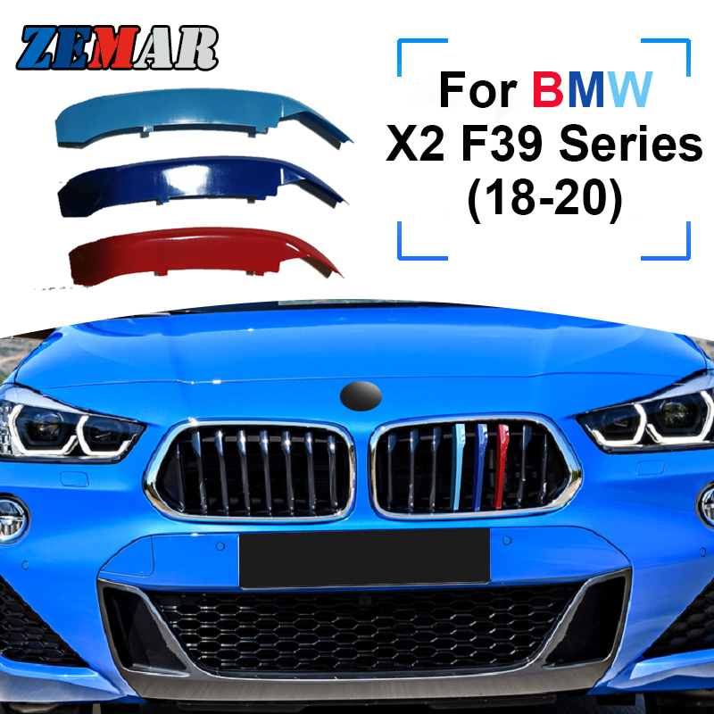 ZEMAR 3 шт. ABS для BMW X2 F39, серия 2018, 2019, 2020, автомобильная гоночная решетка, полоса, обшивка, зажим М, характеристики мощности, аксессуары