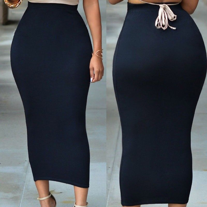 Sexy Women High Waist Skirt Bodycon Solid Straight Stretch OL Office Ladies Pencil Midi Skirts Costume Work Wear Plus Size 2XL