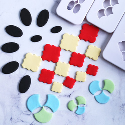 3pcs Plastic Clay Cutter Hexagon/Round/Square/Fish Scales Geometric Shape Cutting Mold Designer Diy Earring Polymer Pottery Tool