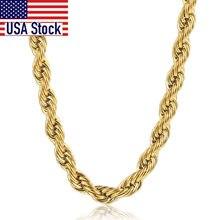 Cadena de eslabón en forma de cuerda trenzada Unisex, collar de acero inoxidable de tono dorado, regalos de joyería, 22 pulgadas, 3-7mm, KNM178A