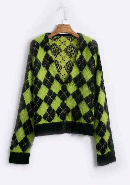 Vintage argyle knitted cardigans women sweaters kawaii mohair sweater winter korean sweater clothes 2020 new 4