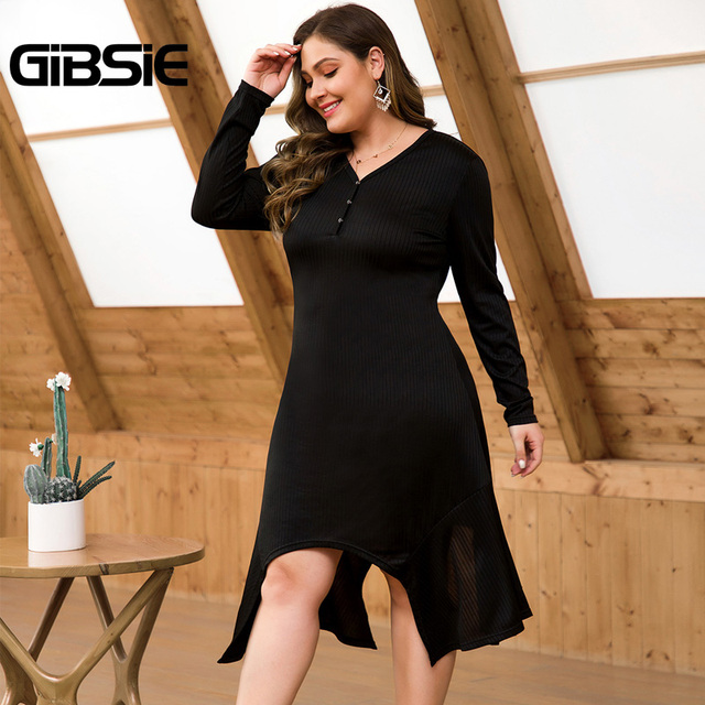 GIBSIE Spring Women Casual Black Dress Button V-neck Long Sleeve Midi Dresses Plus Size High Waist Female Asymmetrical Dress 1
