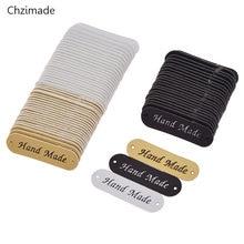 Lychee Life 24/48/72/96Pcs etichette per indumenti fatti a mano etichette per etichette in pelle PU per Jeans borse scarpe Tag accessori per cucire fai da te
