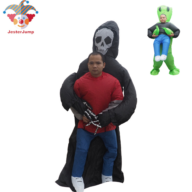 Ghost Inflatable Green Alien Costume Anime Cosplay Grim Reaper Fancy Dress Adult Men Halloween Alien Ghost Costume For Kid Women