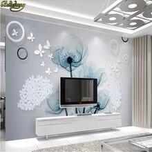 Papel pintado Mural Simple europeo personalizado foto de flores Pintura Sala TV sofá Fondo 3D papel de pared decoración del hogar