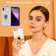 Casos de carregamento sem fio do fone de ouvido bluetooth para o iphone 7 8 6s mais tws bluetooth fone de ouvido capa traseira para o iphone 11 pro xs max xr
