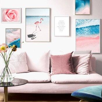Rosa flamenco-Flor de mar para pared arte lienzo, pintura de cuadros, para...