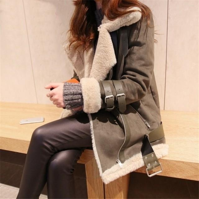 Winter Women Fur Lining Faux Suede Leather Jacket Warm Casual Outwear Coat Fashion Loose Fit Overcoat Buckle Motorcycle Jacket