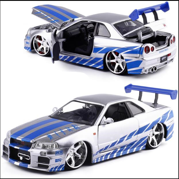 1:24 NISSAN R34 Alloy Car Model,high Simulation Sliding Toy,children's Collection Gifts,free Shipping