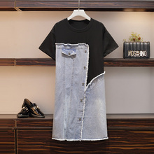 PLUS SIZE Summer dresses women denim patchwork casual dress