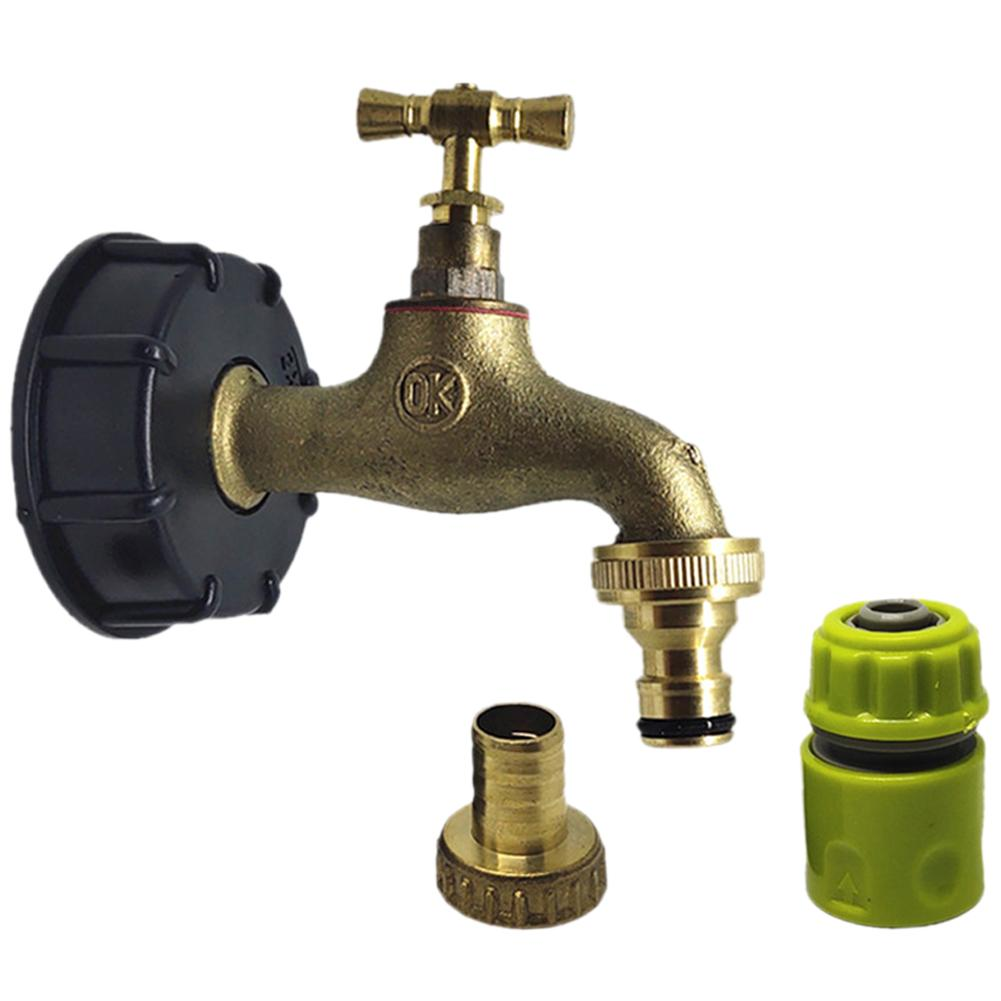 Barrel Nozzle Connector IBC Faucet Tank Adapter Brass Faucet Pacifier Garden Pipe Connector Tonnage Barrel Fittings|Garden Water Connectors| |  - title=