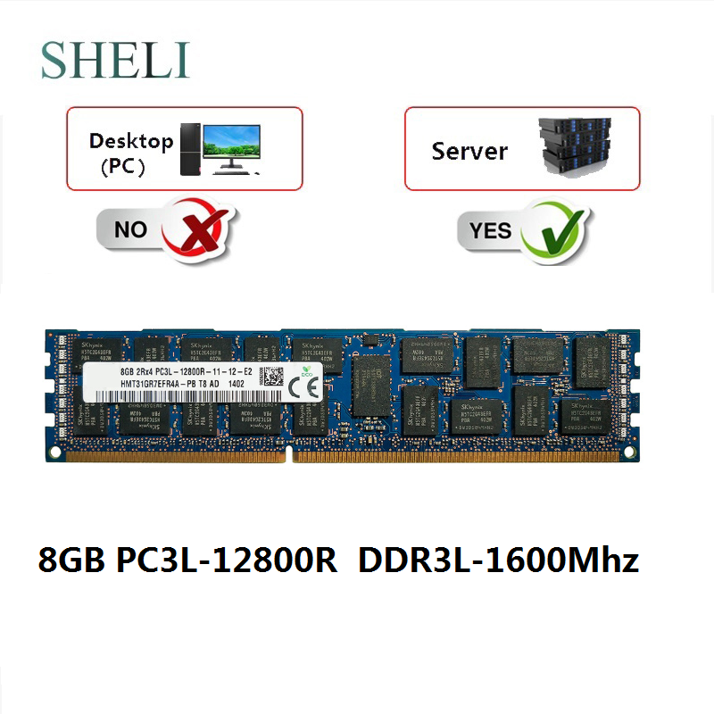 Sheli 240pin Rdimm Ecc Reg Server Ram 8 gb Pc3l-12800r Ddr3-1600mhz