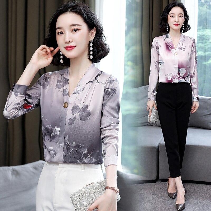 Купить корейские модные шелковые женские блузки атласная офисная женская