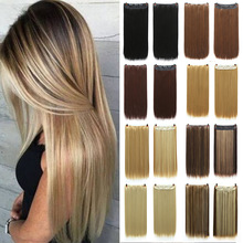 Hair-Extensions Wig Brown Black Natural Straight Synthetic Long 5-Clips Fiber in XUANGUANG