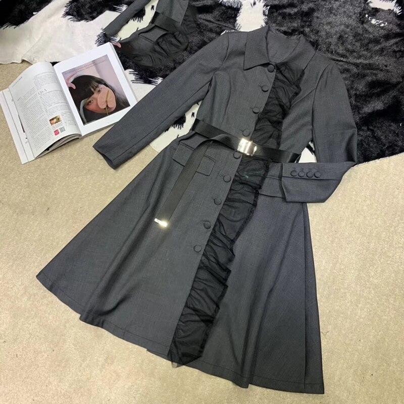 Femmes robe longue pour automne 2019 simple boutonnage robe à manches longues femmes élégantes robe mince