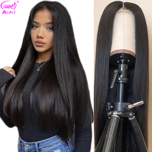 Closure Wig 4×4 Straight Human Hair Wigs Lace Frontal Wig 28 30 Inch Brazilian Remy Pre Plucked Full End Transparent Lace Wigs(China)