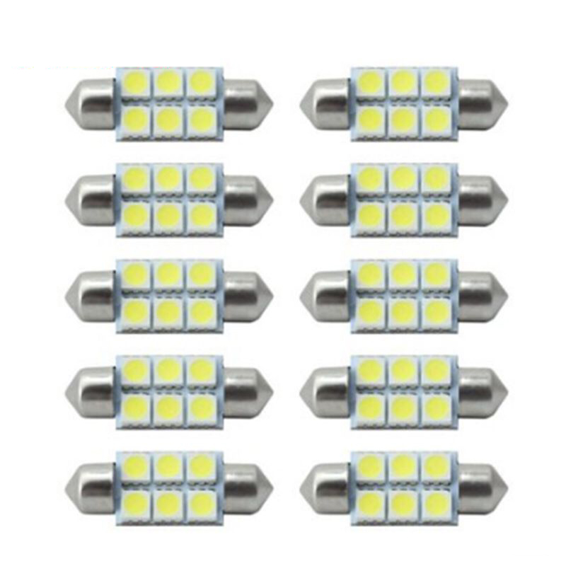 10PCs Auto Festoon 31mm 36mm 39mm 41mm 5050 6 SMD White 12V C5W Car LED Reading Dome Licence Lamp Light Canbus