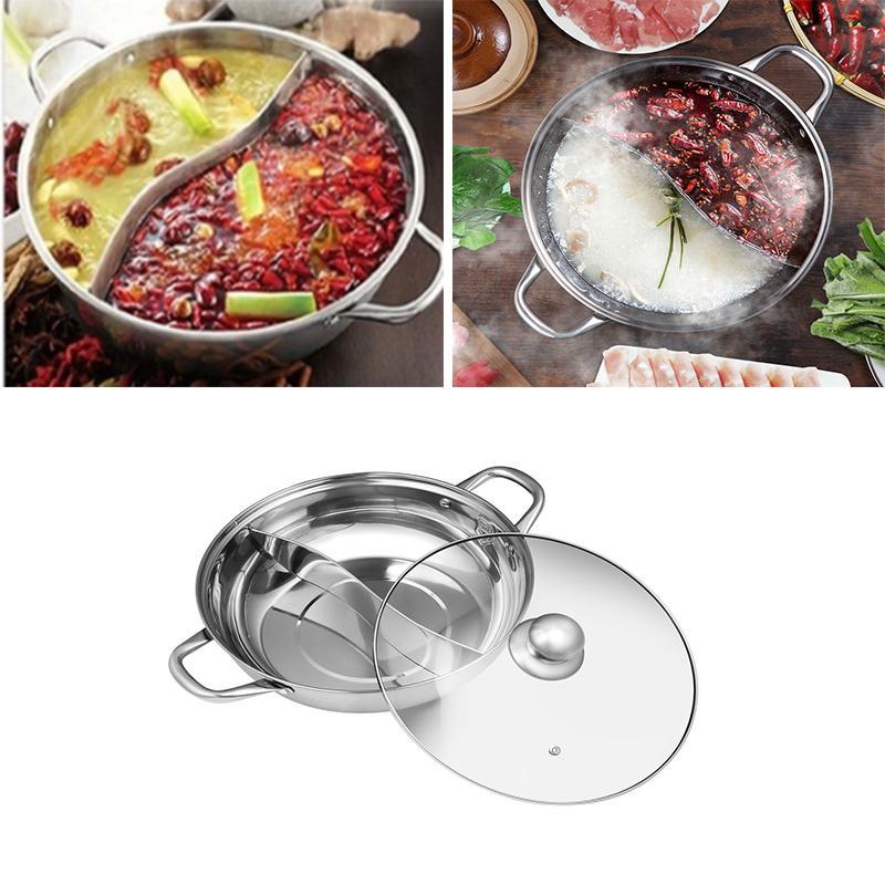 Многофункциональный двойной горячий горшок из нержавеющей стали Инь Ян Shabu китайский горячий горшок посуда антипригарные кастрюли со стеклянной крышкой