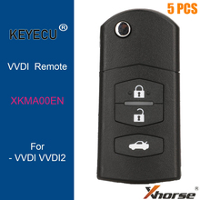 KEYECU 5 ชิ้น XHORSE ภาษาอังกฤษรุ่น XKMA00EN สำหรับ MAZDA สไตล์สายไฟ Universal Remote Key   3 ปุ่ม สำหรับ VVDI key เครื่องมือ,VVDI2