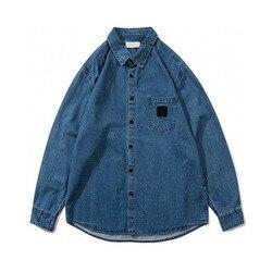 2020SS Высокое Качество Компас значок вышивка рубашка для мужчин и женщин пары негабаритных хип-хоп моющийся выцветший длинный рукав джинсовы...