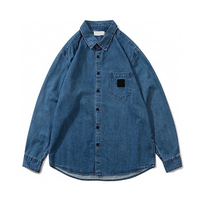 2020SS Top Quality Compass Badge Embroidery Shirt Men Women Couples Oversized Hiphop Washed Faded Long Sleeve Denim Shirts