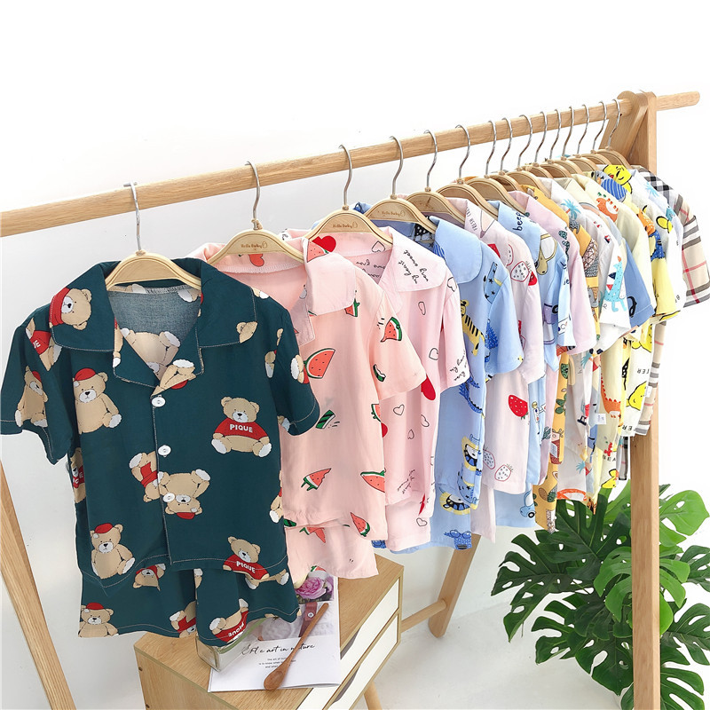 Toddler boys girls kids pajamas sets cartoon short sleeve t-shirt tops short pants toddler baby sleeping clothes pajamas sleepwear