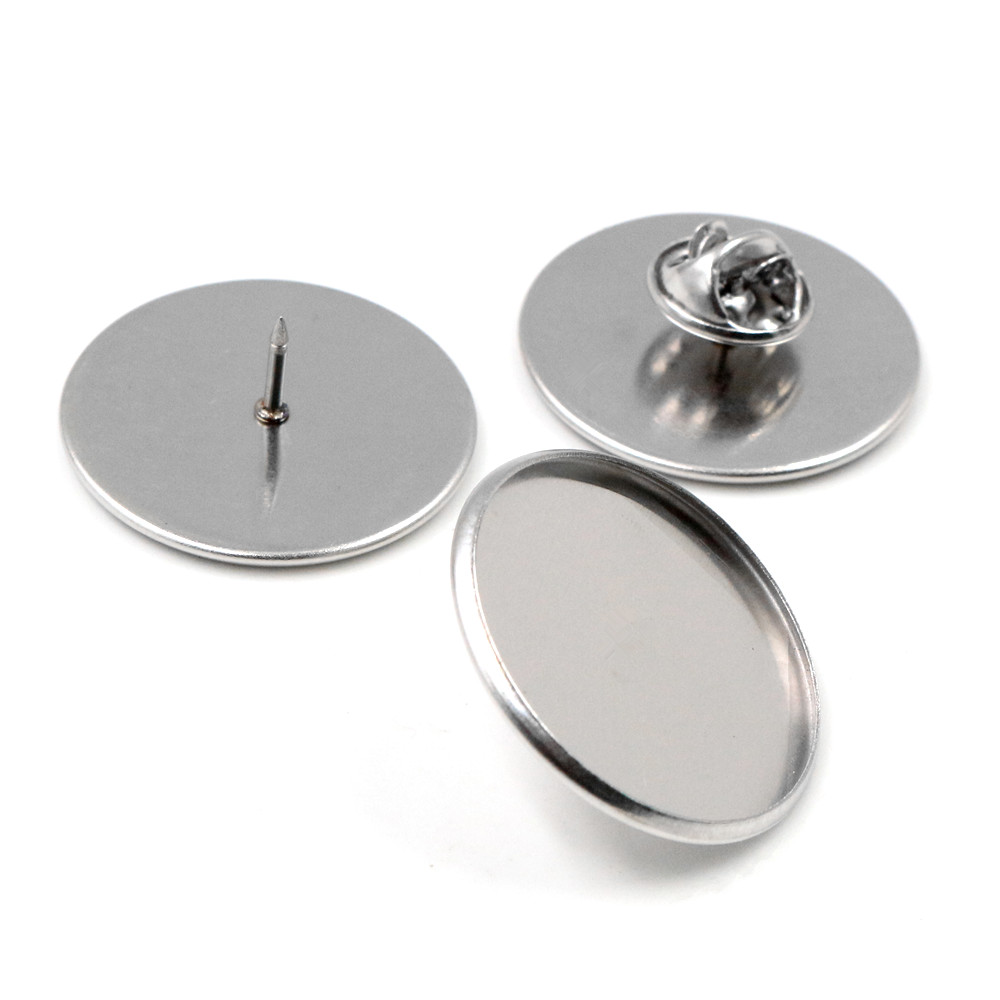 10pcs 25mm Inner Size Stainless Steel Material Brooch Style Cabochon Base Blank Cufflink Spacer Settings Tie Tack Pins-X5-27