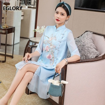 Top Quality Brand Chinese Dress 2020 Summer Women Luxurious Embroidery Tunic Button Deco Ruffle Patchwork Ruffle Vintage Dress фото