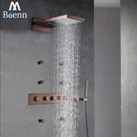 ORB Rainfall Shower Head Oil Rubbed Bronze Thermostatic Shower Faucet Sets Shower Spray Body Jets Massage Spa Waterfall Showers