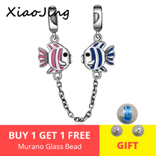 Hot sale 925 Sterling Silver Pink and Blue Enamel Fish Safety Chain Charm Fit Pandora Bracelet DIY Jewelry Making free shipping bamoer 100% 925 sterling silver purple enamel daisy flower safety chain stopper charm fit charm bracelet diy jewelry scc602