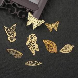 Gold Metal Connectors Slice Diy-Accessories Crafts Jewelry-Making Butterfly Charms Flowers