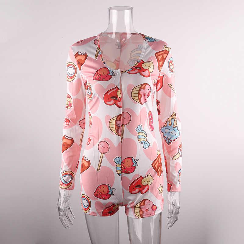 סקסי Onesies למבוגרים 2019 הכי חדש סתיו חורף שרוול ארוך V-צוואר מצחיק דפוס הדפסת פיג 'מה Romper נשים חג המולד Nightwear
