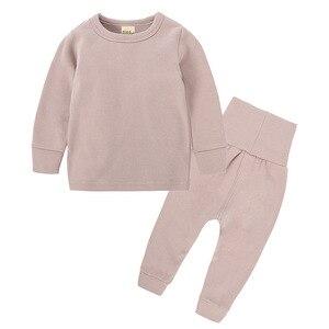 Image 5 - Intimo termico per bambini a vita alta Set neonato primavera autunno abiti bambini cotone vita alta abbigliamento per la casa neonato ragazza indumenti da notte