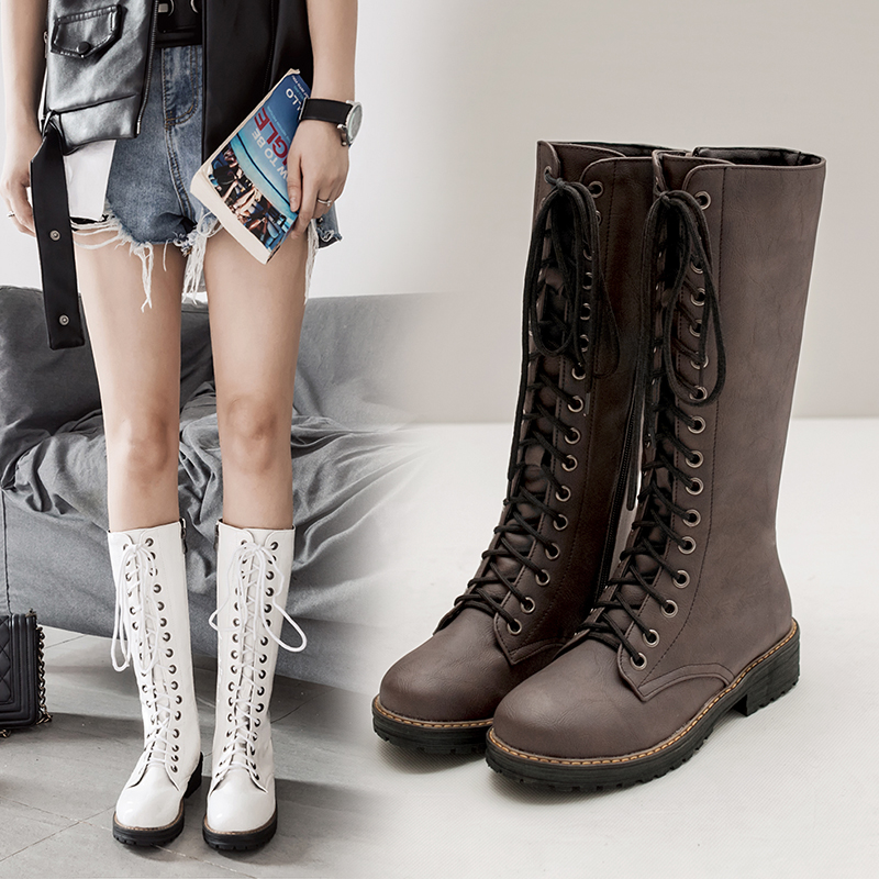 New Haoshen&Girl Hot Sale Autumn Winter Lacing Knee High Boots Women Fashion White Square Heel Woman PU Leather Shoes Big Size 34-43