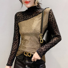 Patchwork Leopard Pullover Tshirt 2020 New Gold silver Women Mesh Sequined Bottoming Shirt Turtleneck T Shirts Clothes 952C(China)