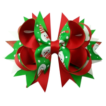 5 inch Ribbon Multi-layer Snowflake printed Hair Bows with alligator Clip for Girls Kids