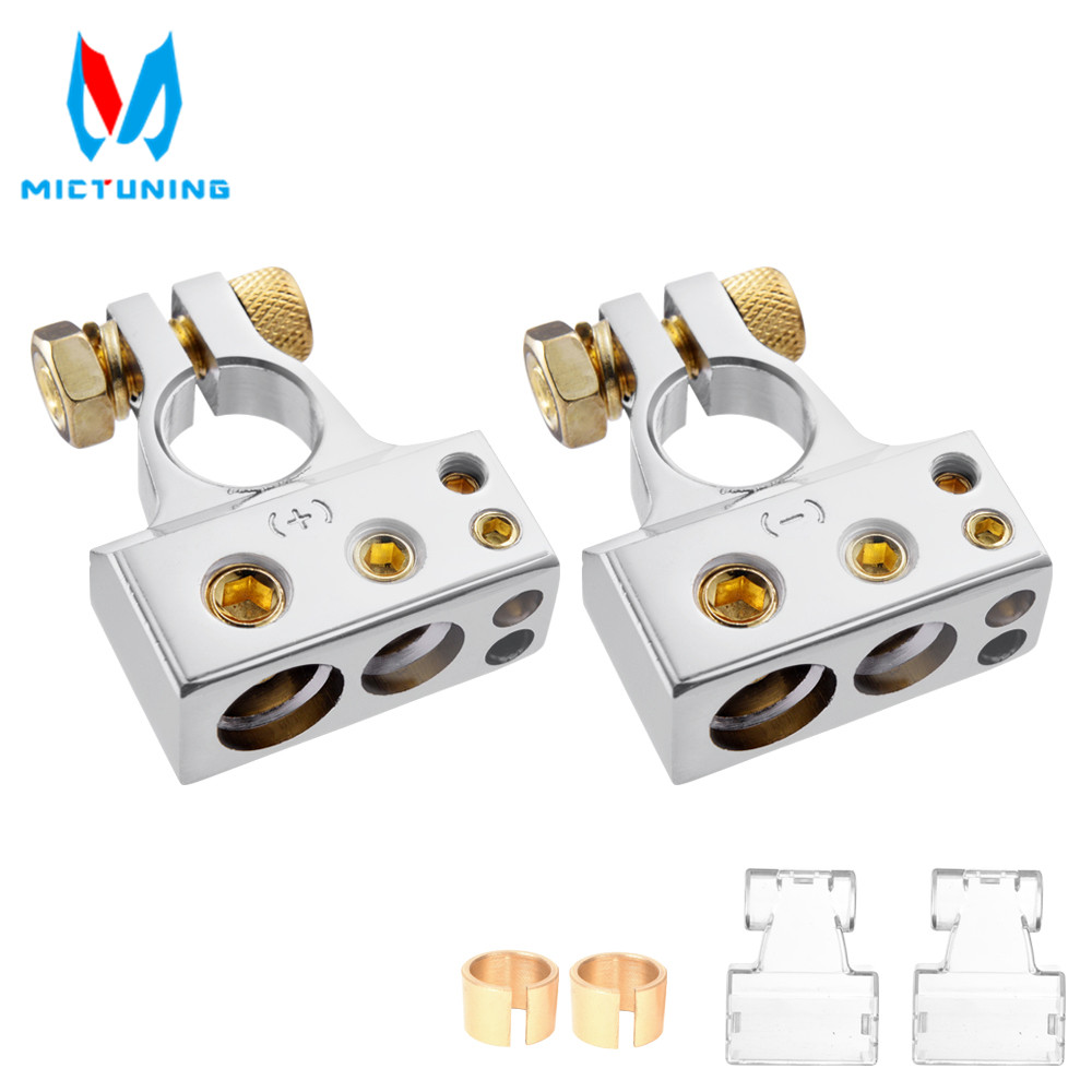 MICTUNING Car Battery Terminal Connectors Kit 2/4/8/10 AWG Positive Negative Car Battery Post Clamp for Car Auto Caravan Marine image