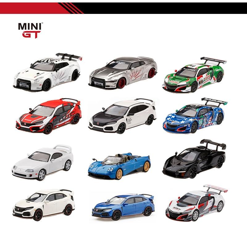 MINI GT 1/64 Honda Civic Type R Acura NSX GT3 McLaren Senna Toyota Supra LB WORKS Nissan R35 DieCast Model Car