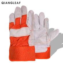 цена Free Shipping Hot Sale Cow Split Leather Welding Gloves Orange Gloves онлайн в 2017 году