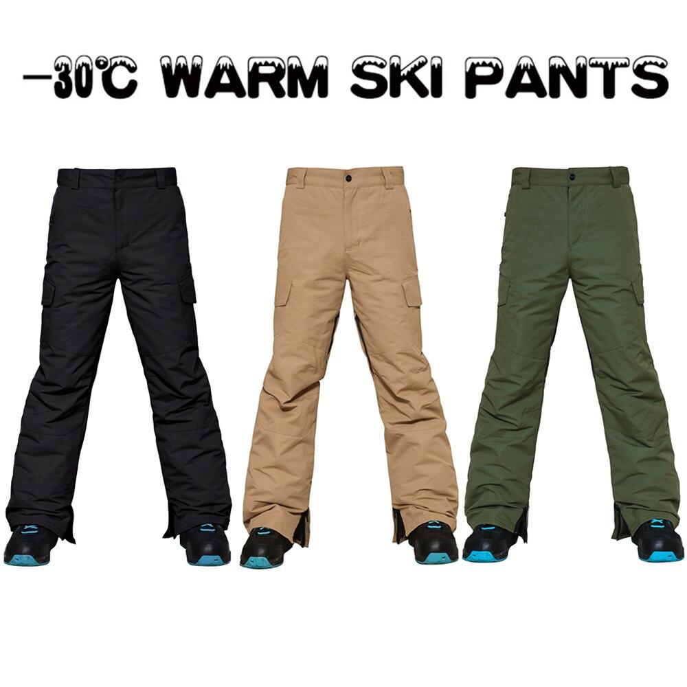 Ski pants -30 degree men Snowboard Pants Men Windproof Waterproof 15K Breathable Winter Warm Couple Snow Pant Zip Skiing Trouser