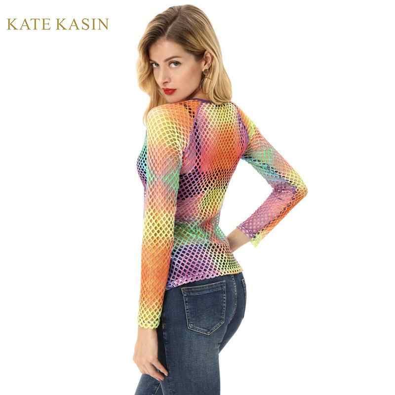 קייט Kasin נשים של רשת גדולה חולצות חולצות סקסי חלול החוצה שקוף Mesh T ארוך קרוע שרוול צבעוני טי למעלה