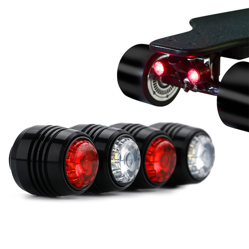 4Pcs Skateboard LED Lights Night Warning Visible Safety Lights 4 Wheels Longboard Scooters Practical Flashlight Cycling Bikes