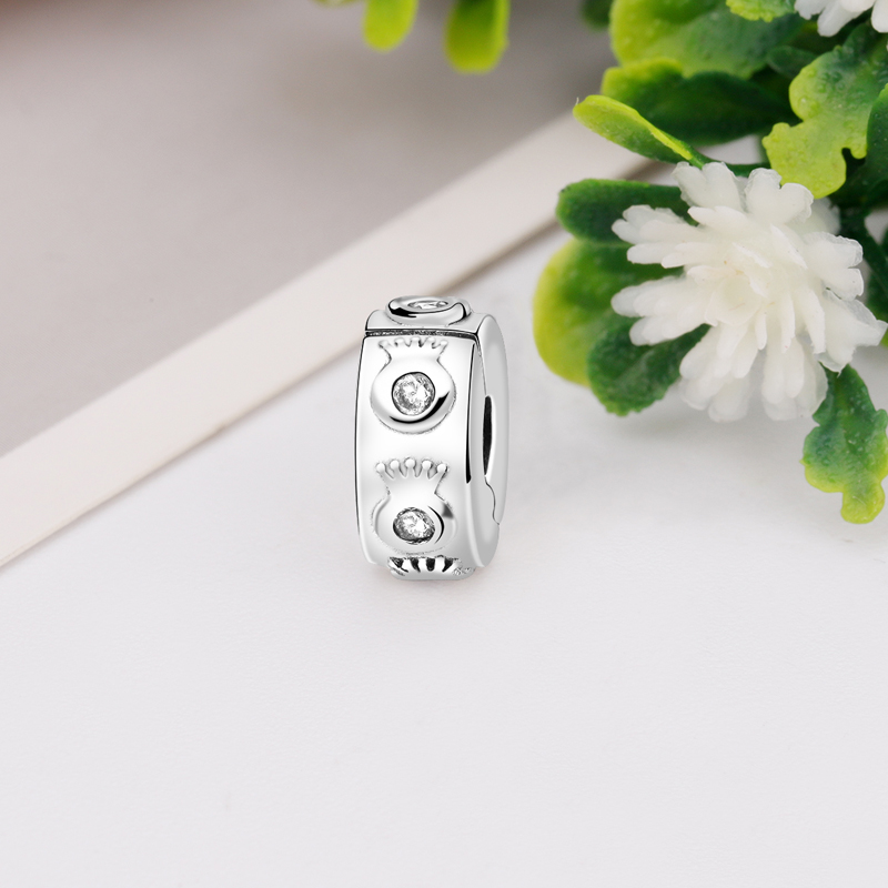 925 Sterling Silver Round with Flower Petals Design Clip Lock Charm Bead