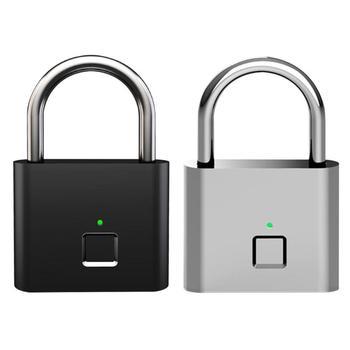 Smart Keyless Fingerprint Padlock USB Rechargeable Door Lock Quick Unlock Zinc Alloy Padlock For Drawer Suitcase Backpack Bags