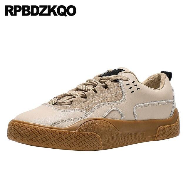 Zapatillas de piel elevador con cordones para mujer 2019 Casual suela gruesa zapatos Chatos con plataforma para mujer Creepers diseñador zapatos China Muffin entrenadores