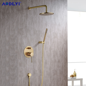 Image 2 - Brushed Gold Solid Brass Bathroom Shower Set Rianfall Head Bath Faucet Wall Mounted Ceiling Arm Mixer Water System Panel Black