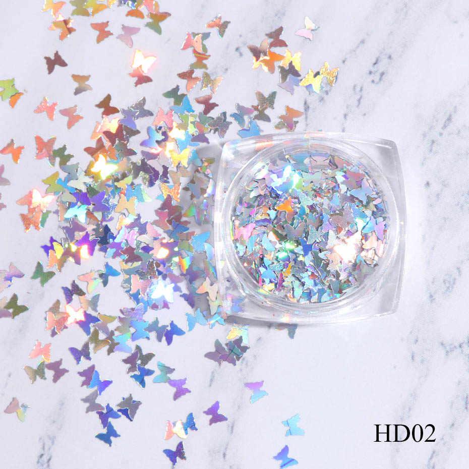 Kuku Seni Glitter Payet Hologram Perak Serpihan 3D Butterfly Gemerlapan Putri Duyung Cermin Paillette Manikur Decor Tips JIHD01-05