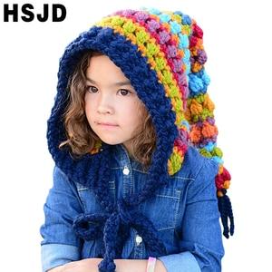 Image 1 - Çocuklar kış şapka el yapımı tığ işi Elf bere şapka çocuk sıcak örme gökkuşağı yanlış yaka Elf şapka kapşonlu kap erkek kız noel kap