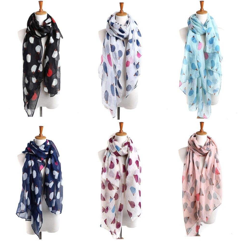 Elegant Silk Satin Scarf For Ladies Vintage 2019 Fashion Thin Shawls Women Ladies Hedgehog Pattern Long Scarf Warm Wrap Shawl