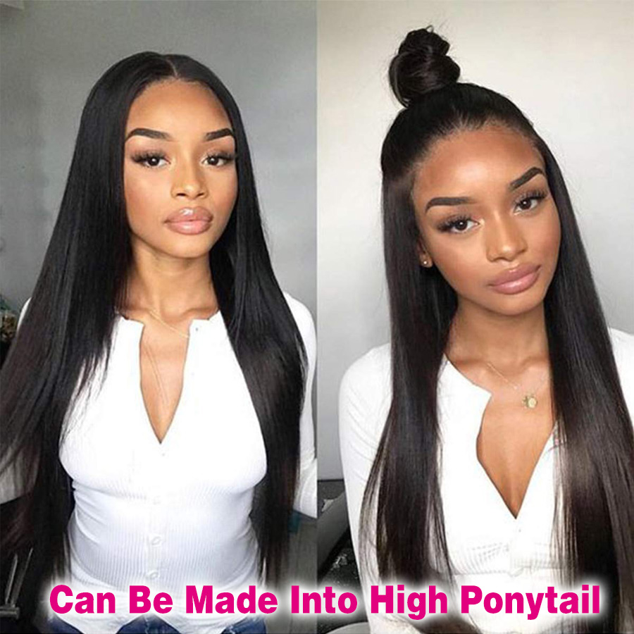 360 Lace Frontal Wig Human Hair Straight Peruvian 6 Inch Lace Front Wig Remy 360 Lace Wig Frontal Wigs For Black Women Ponytail